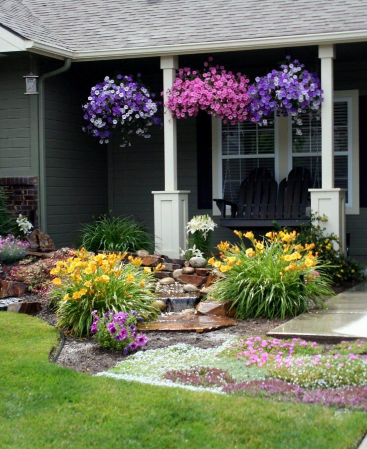 Hanging Colorful Petunias with Mini Waterfall