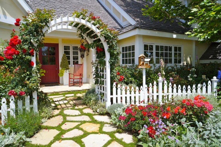 Flower Gate for Best Front Yard Landscaping Ideas