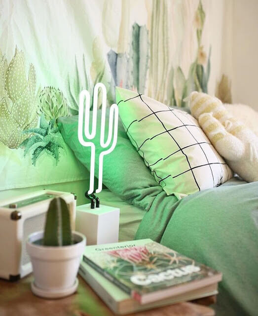 Cactus Lamp and Tapestry
