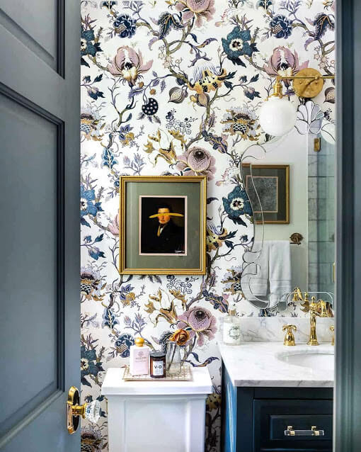 Luxurious Floral Pattern Bathroom Wallpaper