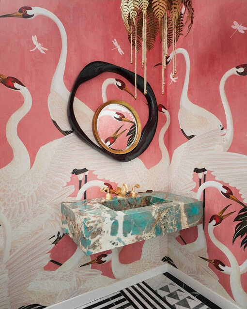 Pink Flamingos Bathroom Wallpaper