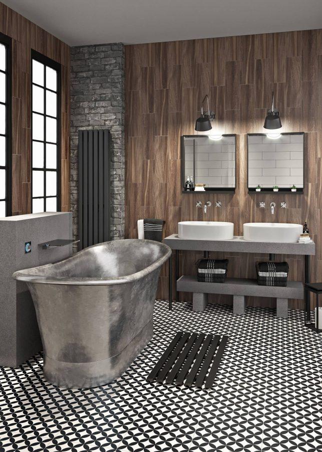 Small Industrial Bathroom with Galvanized Bathtub
