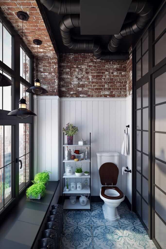 Exposed Brick and Shiplap Wall Bathroom