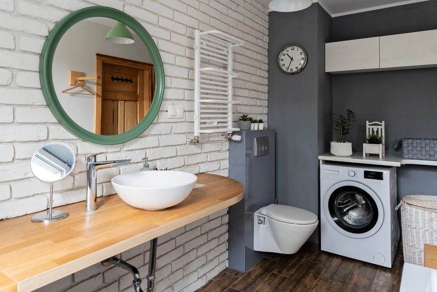 Grey and White Combination Industrial Bathroom