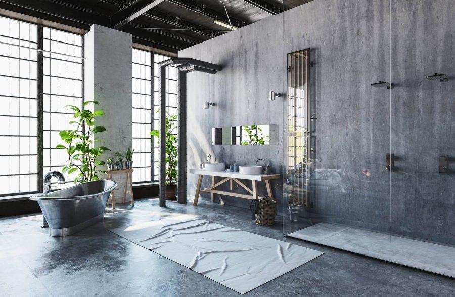 Industrial Bathroom with Concrete Walls