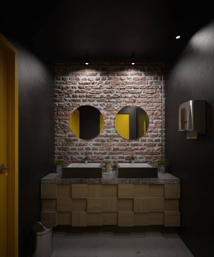 Industrial Style Bathroom - Exposed Brick Accent Wall