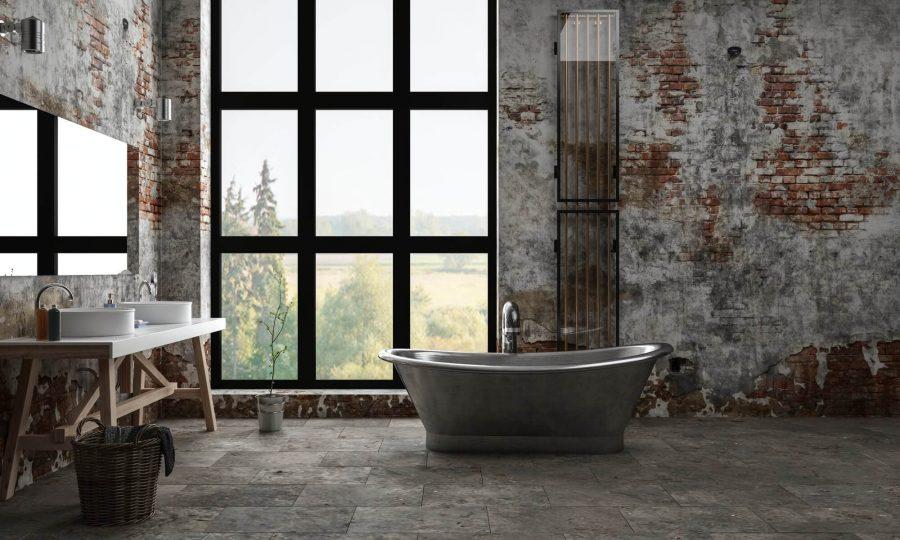Elegant Washed Brick Wall - Industrial Bathroom Decor