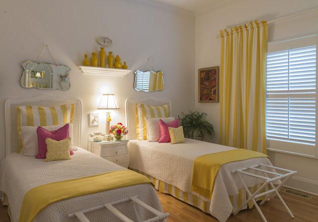 Joyful Yellow Striped Twin Bed