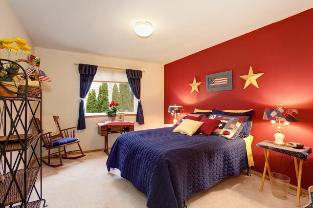 Red and Blue Guest Bedroom Ideas