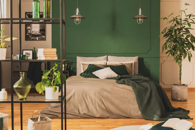 A Glance of Leafy Green Bedroom