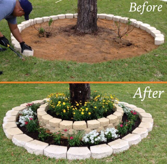 Rounding Tree Flower Bed