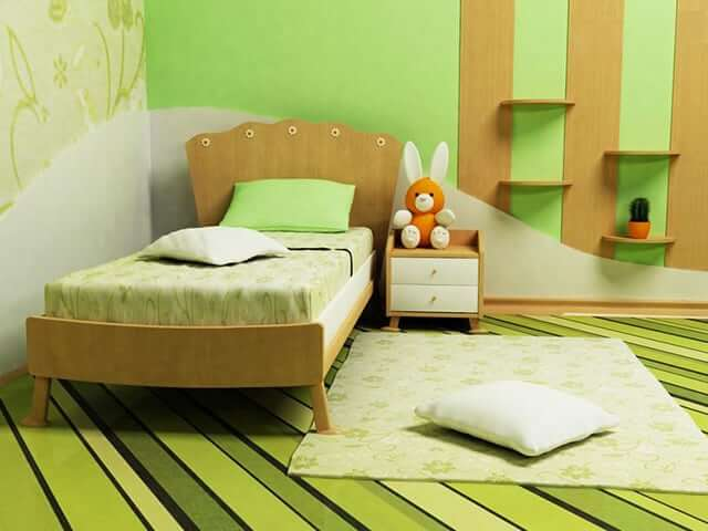 Compact and Minimalist Green Bedroom