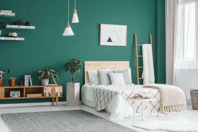 Pops of Green Wall Bedroom