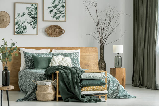 Bottle Green and Beige Bedroom