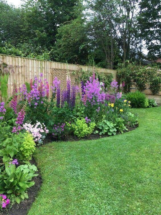 Side Yard Flower Bed with High Plants