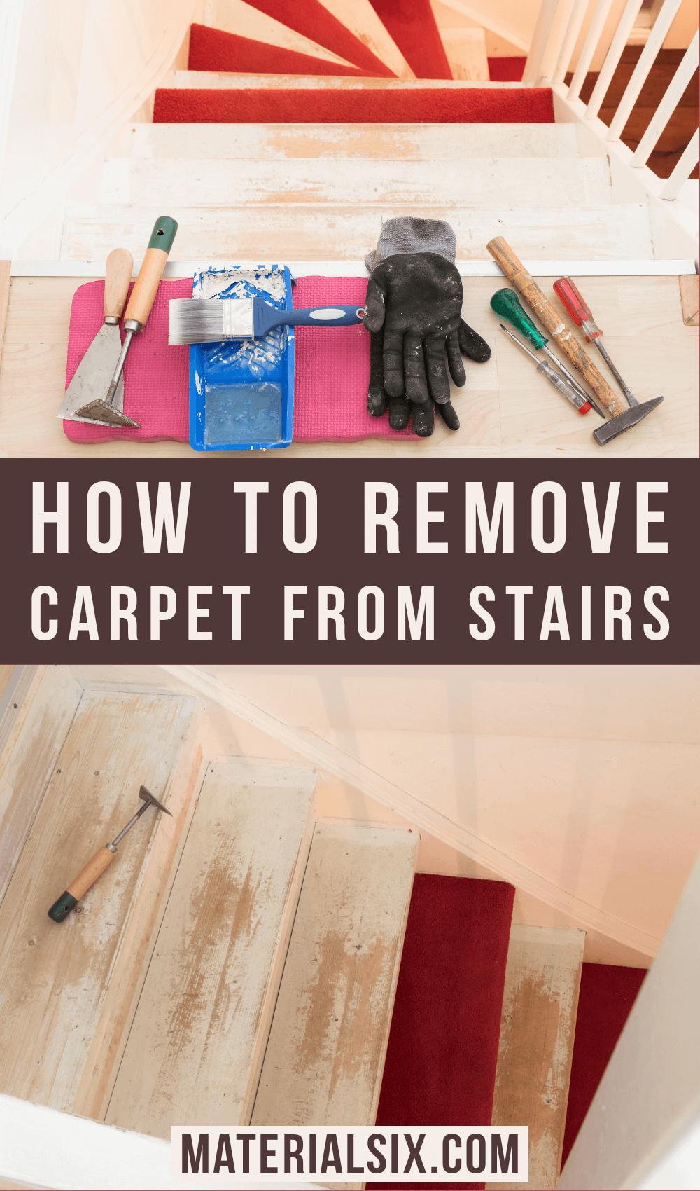 how to remove carpet form stairs