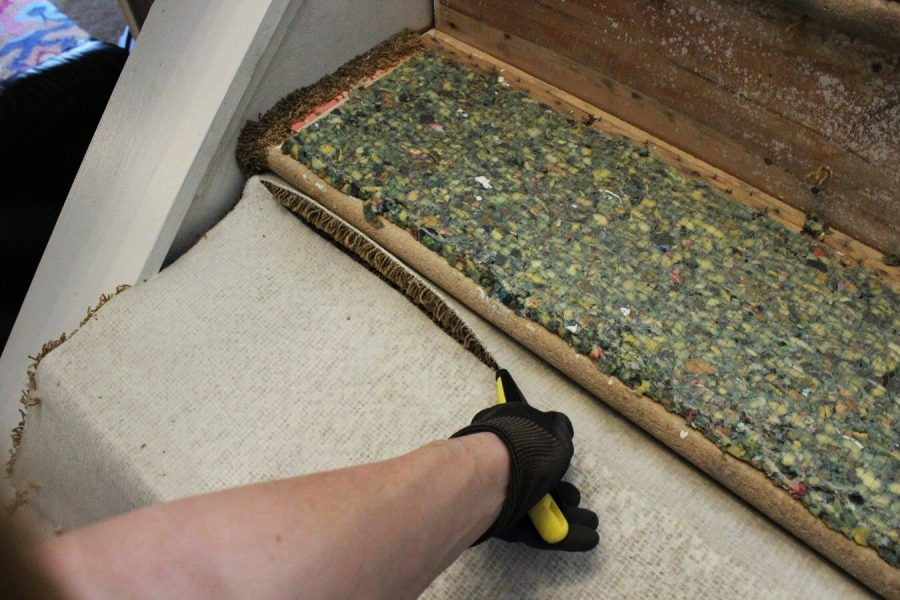Slice the Carpet Part - removing carpet from stairs