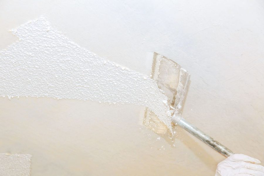 remove popcorn ceilings with scraping method