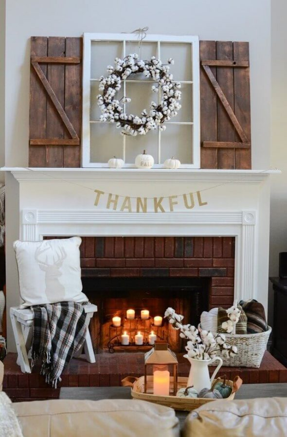 farmhouse mantel decor ideas happy thanksgiving