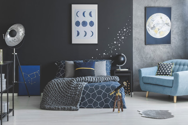 Starry Bedroom for an Astrophile - Gray and Navy Bedroom
