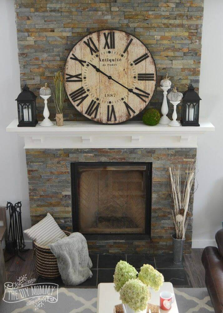 Farmhouse Mantel Decor with Clock