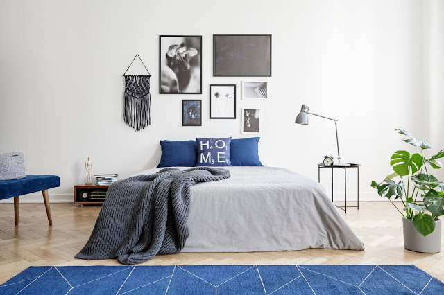 Grey and Navy Bedroom with Modern Affairs