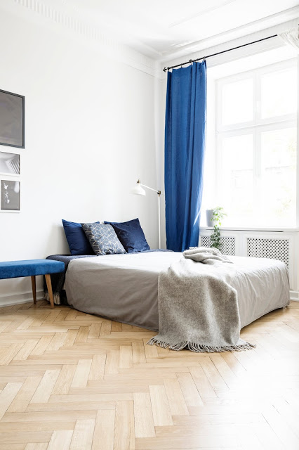 Floor-to-Ceiling Curtain - Gray and Navy Bedroom