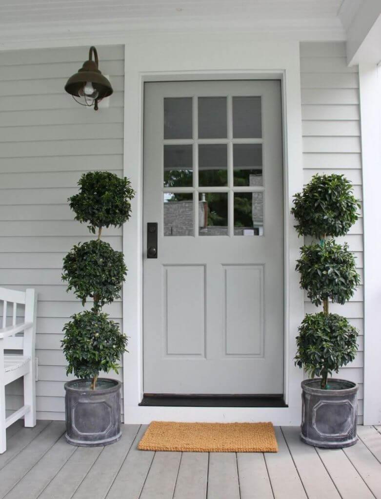 gray front door color
