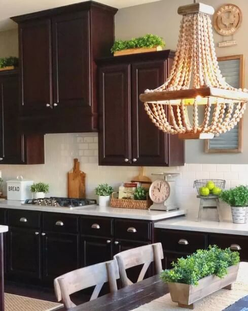 Greenery Above Kitchen Cabinets