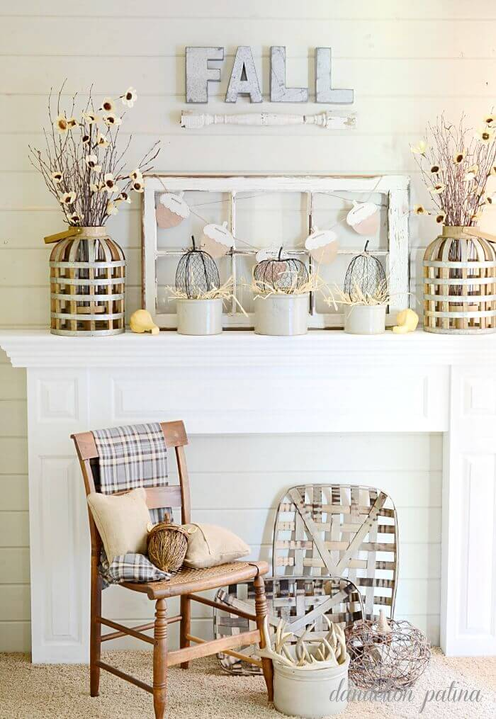 White Farmhouse Mantel Decor