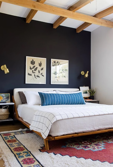 Exposed Wooden Beams - Navy Bedroom