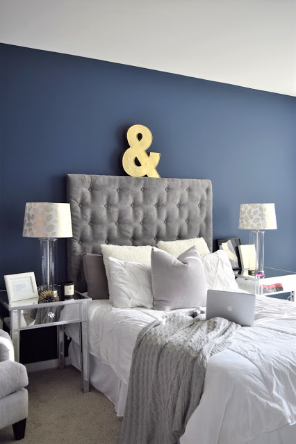 Impressive Velvet Headboard - Best navy bedroom