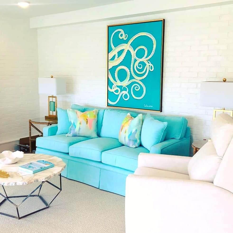 Turquoise Coastal Living Room