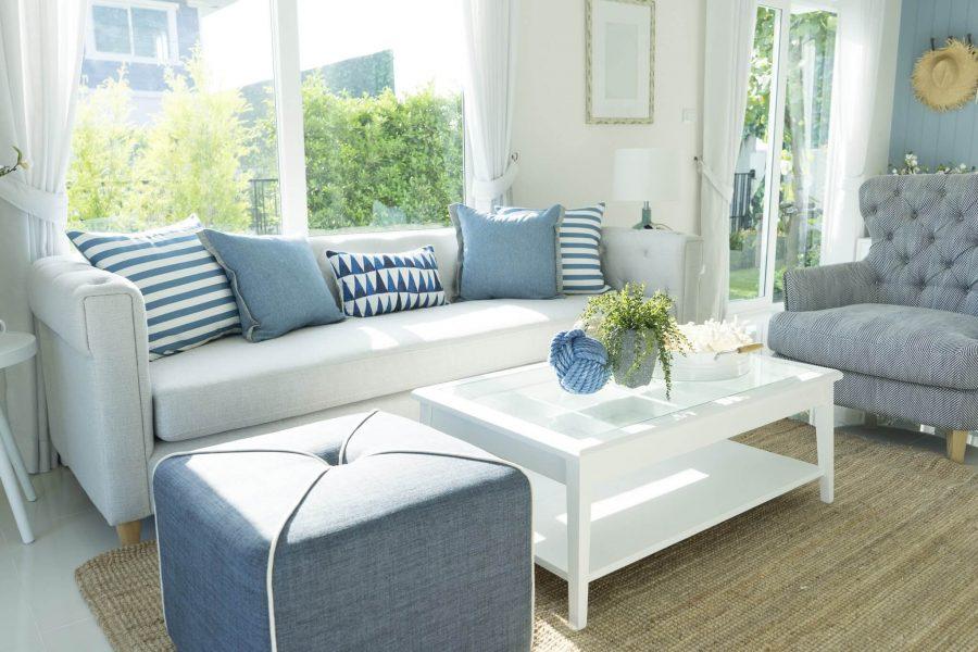 Coastal Living Room in Narrow Space