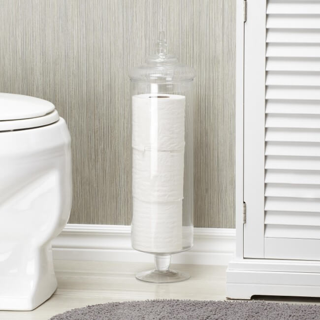 Toilet Paper Glass Vase Storage