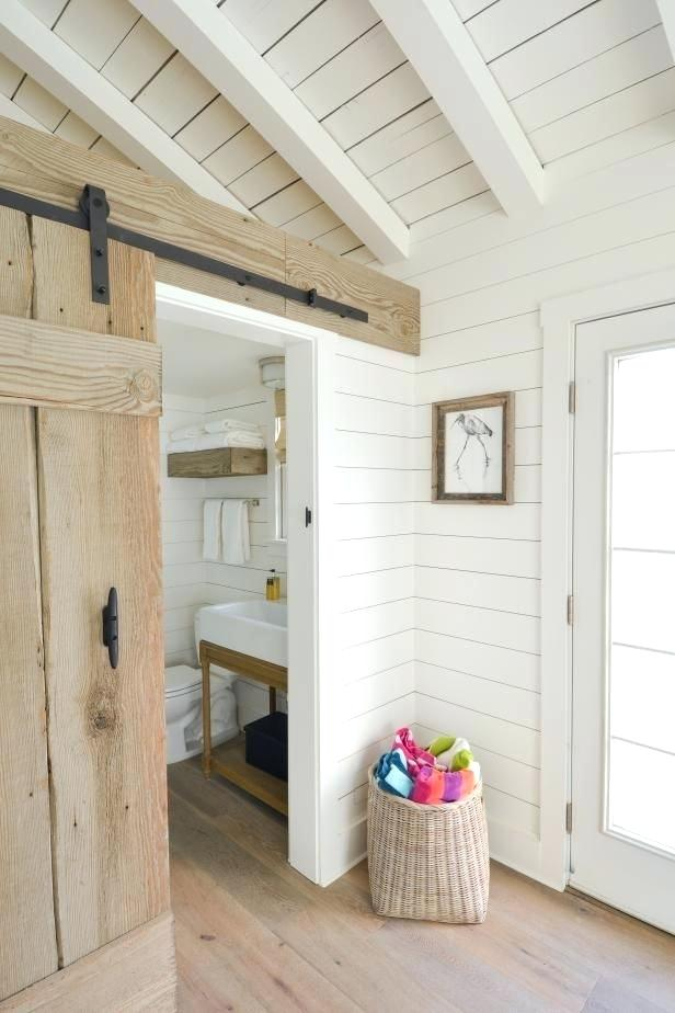 whitewashed wood paneling features