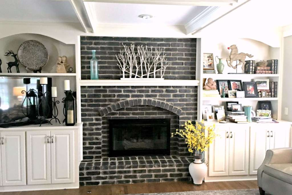 Contrasting Look Brick Fireplace