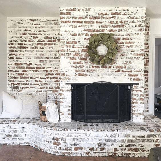 German Shmear Brick Fireplace Painting