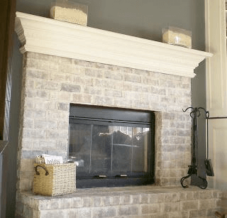 Whitewashed Brick Fireplace Painting