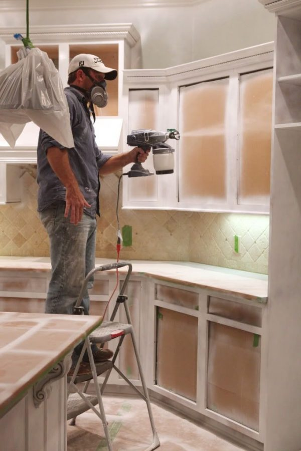 Staining Kitchen Cabinets with a Spray System