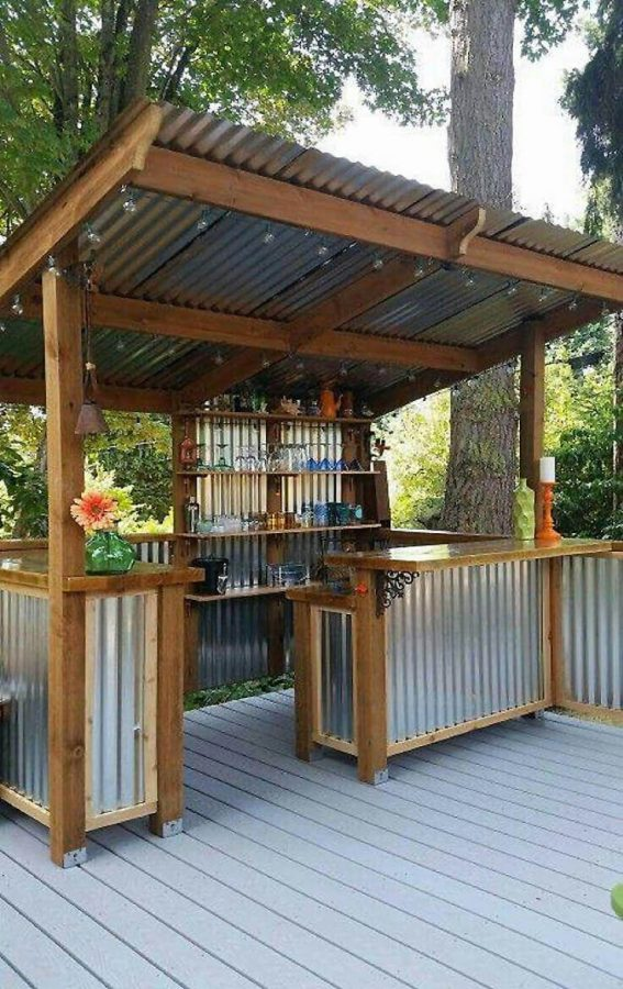 DIY Outdoor Kitchen from metal and wood