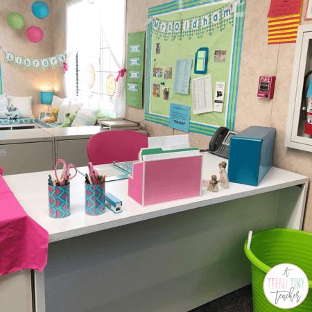 Classroom Organization Ideas - Teachers Desk And Storage Place