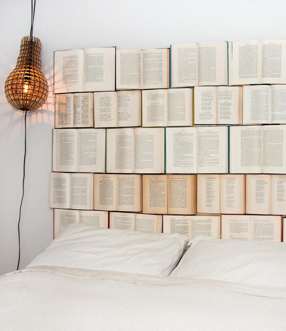 Unique Book Stacking Headboard