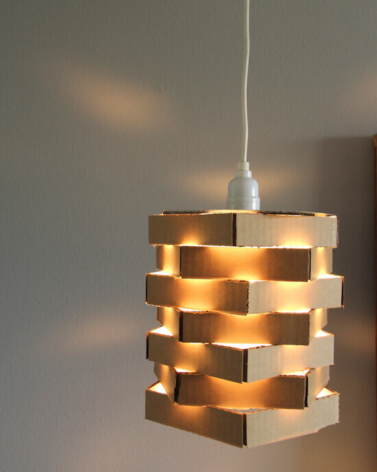 Cardboard Pendant Light - cardboard box ideas