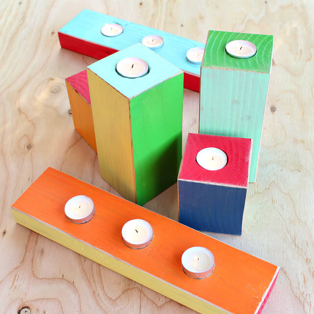 Colorful Wood Block Candle Holders