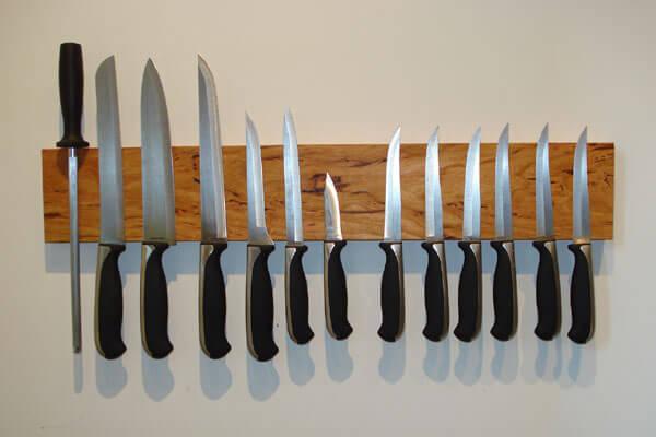 Magnetic Wooden Knife Holder - DIY Kitchen storage ideas