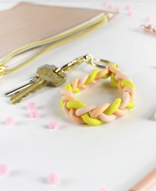 DIY braided clay keychains