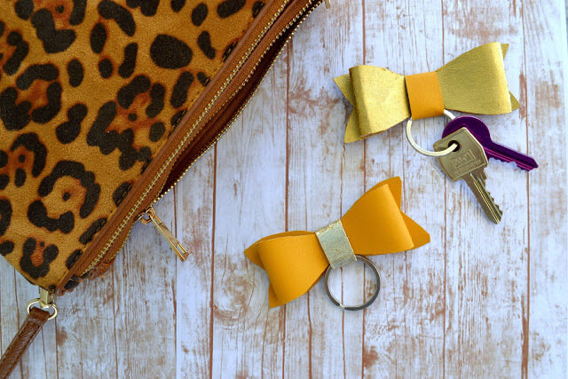 DIY Faux Leather Bow Keychains - Easy to make