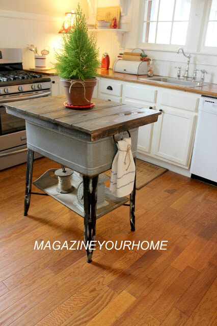 DIY Kitchen Island From Wash Tub