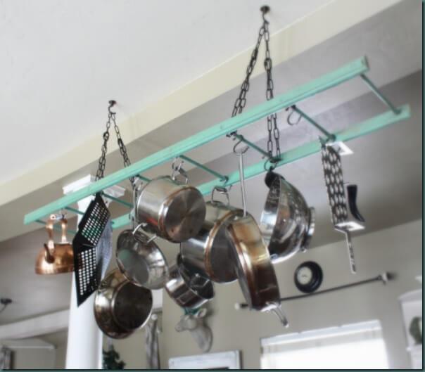 DIY Ladder Pot Rack